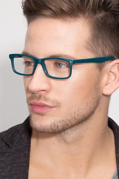 Mandi Teal Acetate Eyeglass Frames for Men from EyeBuyDirect