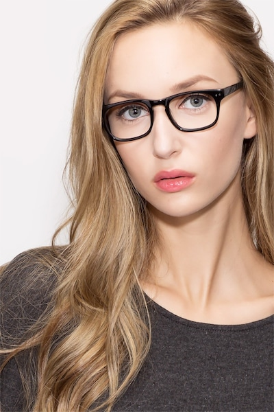 Carla Black Acetate Eyeglass Frames for Women from EyeBuyDirect, Front View