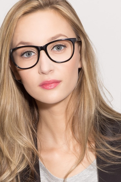 Anahi Black Acetate Eyeglass Frames for Women from EyeBuyDirect, Front View