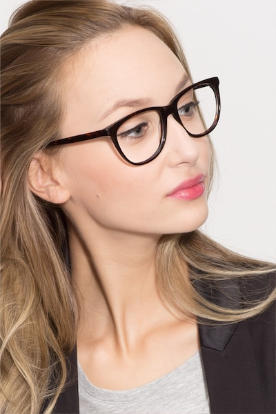 Anahi Brown/Tortoise Acetate Eyeglass Frames for Women from EyeBuyDirect, Front View
