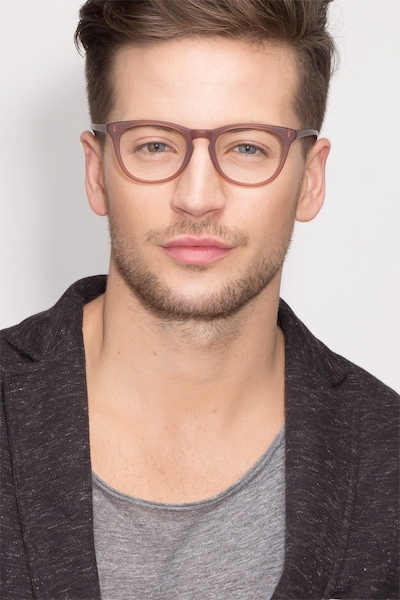 Providence Matte Brown Acetate Eyeglass Frames for Men from EyeBuyDirect, Front View