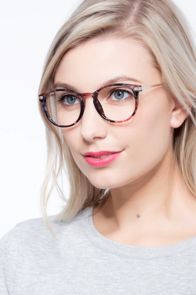 Muse Blue Floral Plastic Eyeglass Frames for Women from EyeBuyDirect, Front View