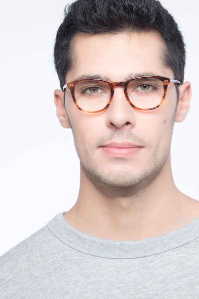 New Day Brown Acetate Eyeglass Frames for Men from EyeBuyDirect, Front View