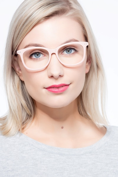 Brittany Pink Acetate Eyeglass Frames for Women from EyeBuyDirect, Front View
