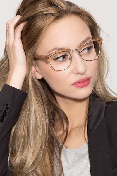 Concorde Brown/Silver Acetate Eyeglass Frames for Women from EyeBuyDirect, Front View