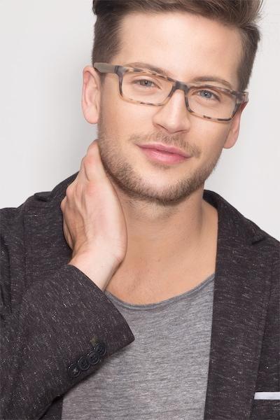 Cambridge Matte Tortoise Plastic Eyeglass Frames for Men from EyeBuyDirect, Front View