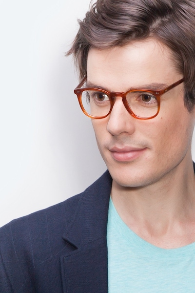 Shade Cinnamon Acetate Eyeglass Frames for Men from EyeBuyDirect, Front View