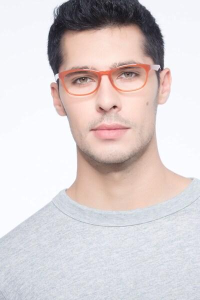 Drums Orange Plastic Eyeglass Frames for Men from EyeBuyDirect, Front View