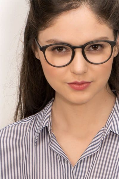 Muse Matte Gray Plastic Eyeglass Frames for Women from EyeBuyDirect, Front View