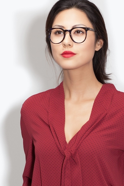 Atmosphere Nebular Blue Acetate Eyeglass Frames for Women from EyeBuyDirect, Front View