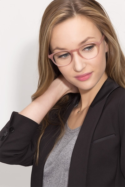 Sea Breeze Pink Plastic Eyeglass Frames for Women from EyeBuyDirect, Front View