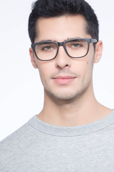 Milo Matte Black Plastic Eyeglass Frames for Men from EyeBuyDirect, Front View