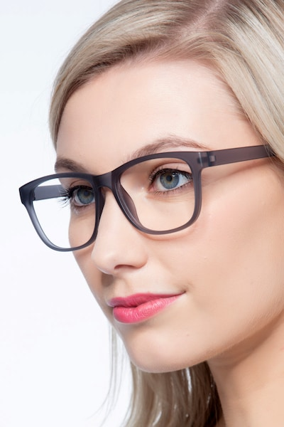 Milo Matte Gray Plastic Eyeglass Frames for Women from EyeBuyDirect