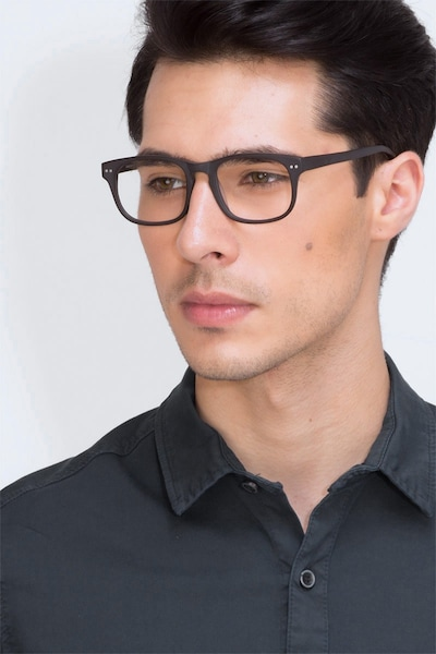 Carla Coffee Acetate Eyeglass Frames for Men from EyeBuyDirect, Front View