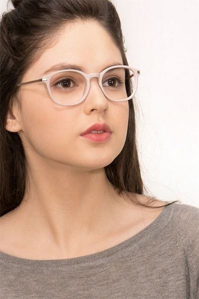 New Bedford Faded Rose Acetate Eyeglass Frames for Women from EyeBuyDirect, Front View