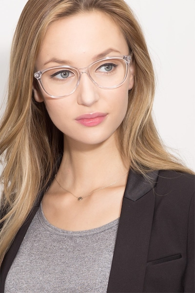 Hepburn Clear Acetate Eyeglass Frames for Women from EyeBuyDirect, Front View