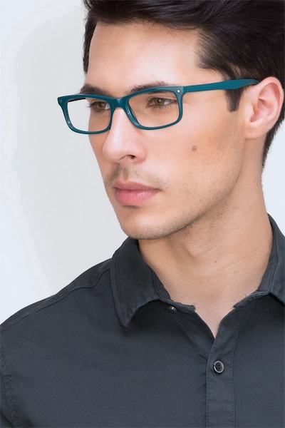 Mandi Teal Acetate Eyeglass Frames for Men from EyeBuyDirect