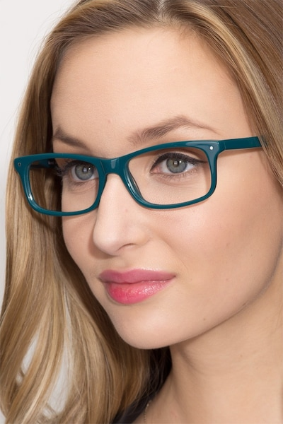 Mandi Teal Acetate Eyeglass Frames for Women from EyeBuyDirect