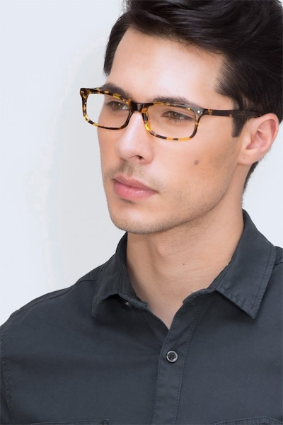 Mandi Tortoise Acetate Eyeglass Frames for Men from EyeBuyDirect