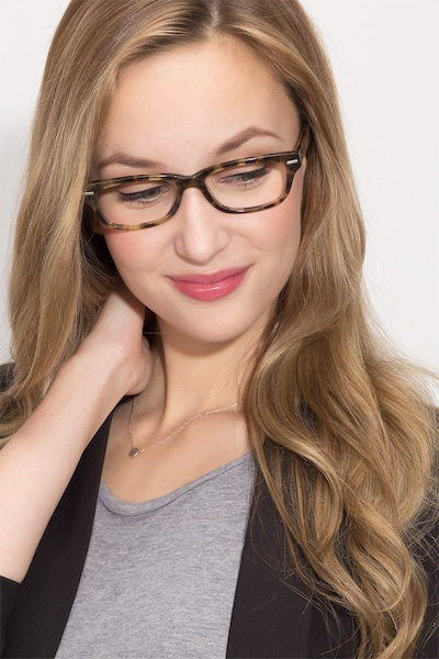 Fairmount Brown Tortoise Acetate Eyeglass Frames for Women from EyeBuyDirect, Front View