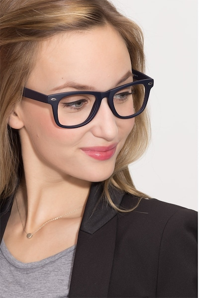 Atlee Matte navy Plastic Eyeglass Frames for Women from EyeBuyDirect, Front View