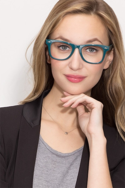 Atlee Green Plastic Eyeglass Frames for Women from EyeBuyDirect, Front View