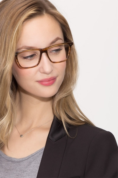 Default Brown Striped Acetate Eyeglass Frames for Women from EyeBuyDirect, Front View