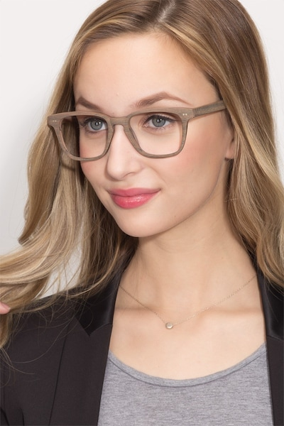 Samson  Brown Striped  Wood-texture Eyeglass Frames for Women from EyeBuyDirect, Front View