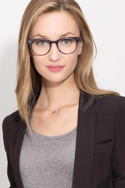 Daybreak Gray Acetate Eyeglass Frames for Women from EyeBuyDirect, Front View