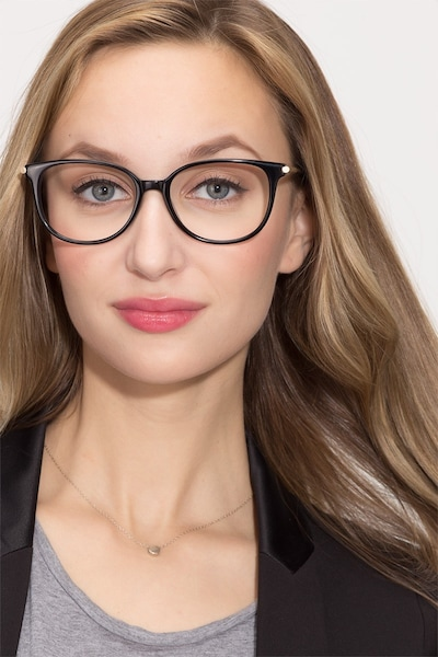 Jasmine Black Acetate Eyeglass Frames for Women from EyeBuyDirect, Front View