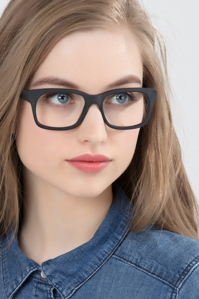 Lynch Matte Black Acetate Eyeglass Frames for Women from EyeBuyDirect, Front View