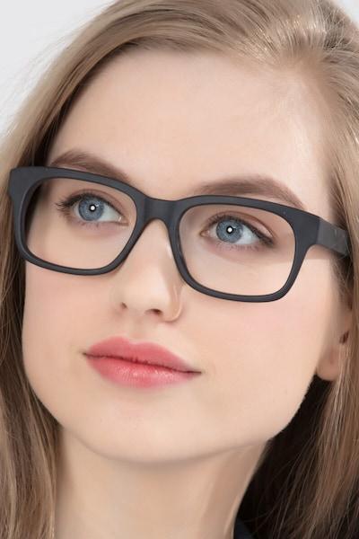 Lynch Matte Black Acetate Eyeglass Frames for Women from EyeBuyDirect