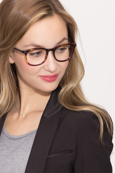 Demain Dark Tortoise Acetate Eyeglass Frames for Women from EyeBuyDirect, Front View