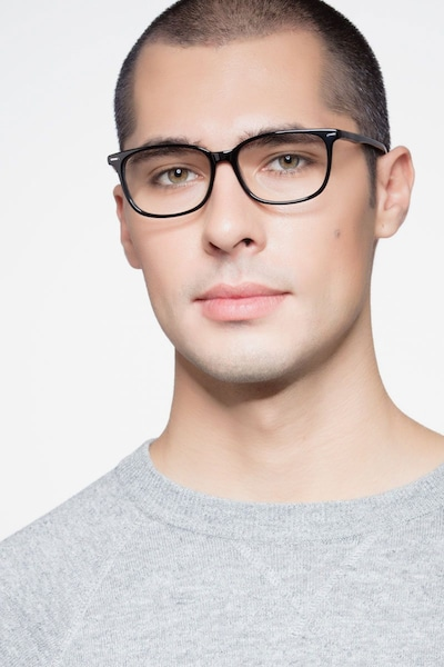 Seapoint Black Acetate Eyeglass Frames for Men from EyeBuyDirect, Front View