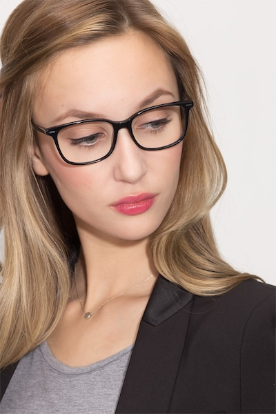 Seapoint Black Acetate Eyeglass Frames for Women from EyeBuyDirect, Front View