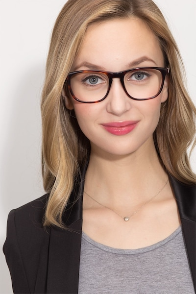Damien Tortoise Acetate Eyeglass Frames for Women from EyeBuyDirect, Front View