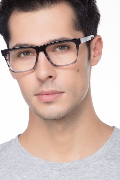 Pioneer Gray Acetate Eyeglass Frames for Men from EyeBuyDirect, Front View