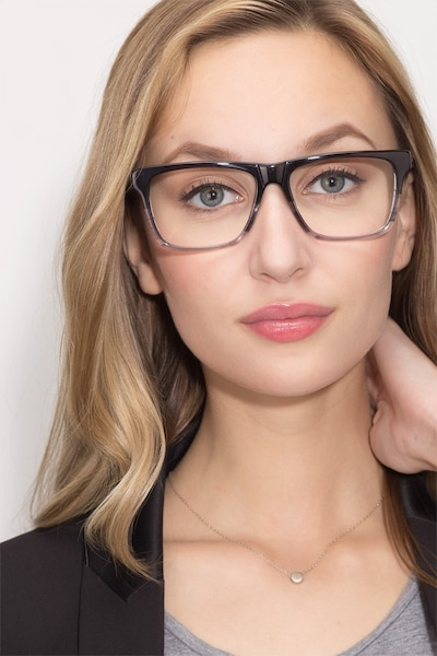 Pioneer Gray Acetate Eyeglass Frames for Women from EyeBuyDirect, Front View