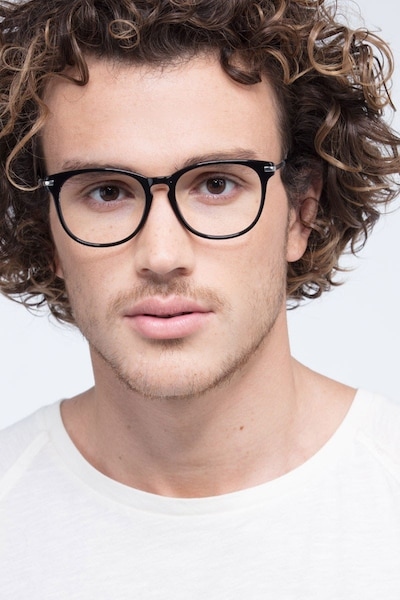 Decadence Black Acetate Eyeglass Frames for Men from EyeBuyDirect, Front View