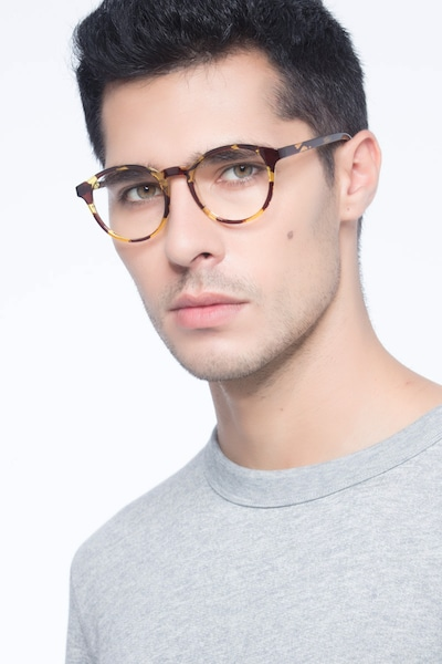Bright Side Tortoise Plastic Eyeglass Frames for Men from EyeBuyDirect, Front View
