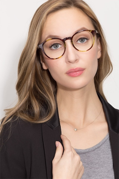 Bright Side Tortoise Plastic Eyeglass Frames for Women from EyeBuyDirect, Front View