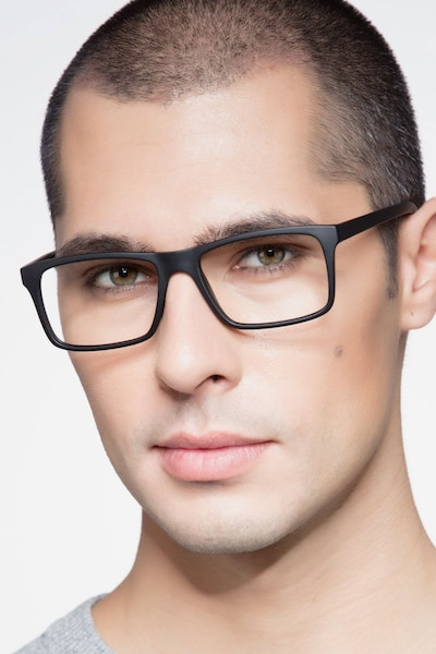 Persian Matte Black Plastic Eyeglass Frames for Men from EyeBuyDirect