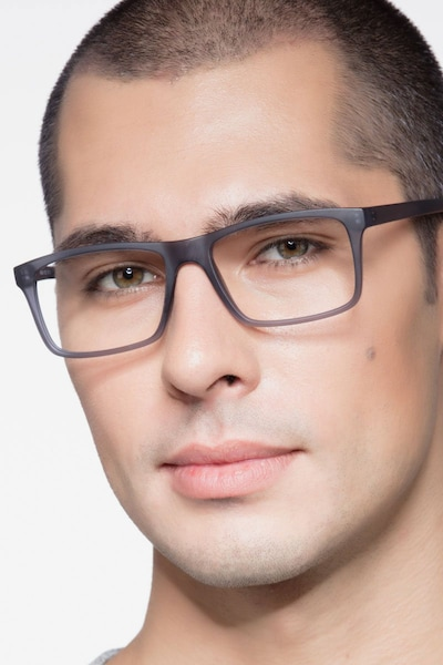Persian Matte Gray Plastic Eyeglass Frames for Men from EyeBuyDirect