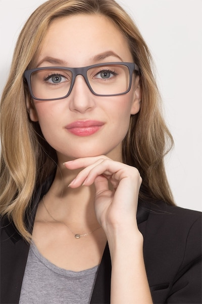 Persian Matte Gray Plastic Eyeglass Frames for Women from EyeBuyDirect, Front View