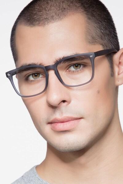 Uptown Matte Gray Plastic Eyeglass Frames for Men from EyeBuyDirect