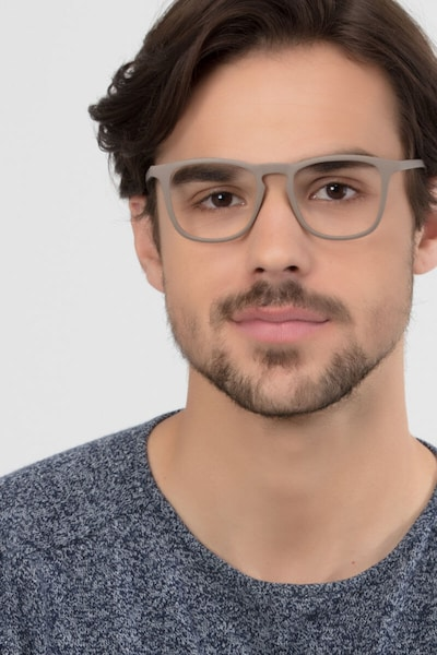 Central  Light Brown  Plastic Eyeglass Frames for Men from EyeBuyDirect, Front View