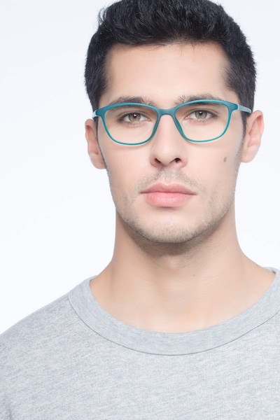 District Matte Green Plastic Eyeglass Frames for Men from EyeBuyDirect, Front View