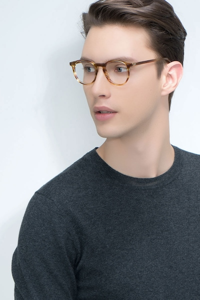 Prism Striped Caramel Acetate Eyeglass Frames for Men from EyeBuyDirect, Front View