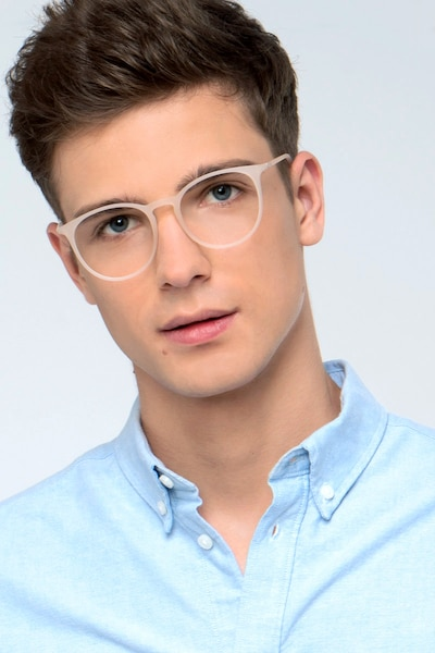 Dialogue Matte Clear Plastic Eyeglass Frames for Men from EyeBuyDirect, Front View