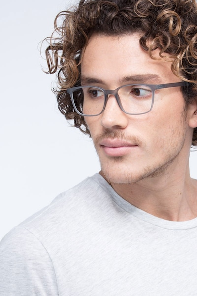 Soul Gray Plastic Eyeglass Frames for Men from EyeBuyDirect, Front View